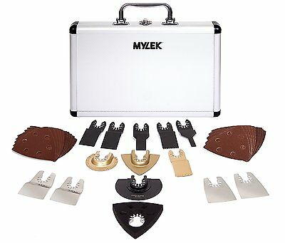 GENUINE Mylek Multi Tool 34 Piece Accessory Kit Aluminium Silver Carry Case