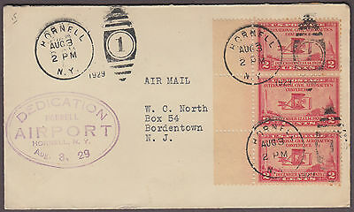 1929 3 Cent 3 Stamp Cover - Dedication Hornell NY Airport - Scott 649