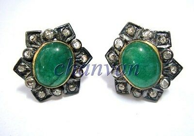 Vintage/Antique Inspire Rose Cut Diamond Sterling Silver Emerald Earring @CSJ412