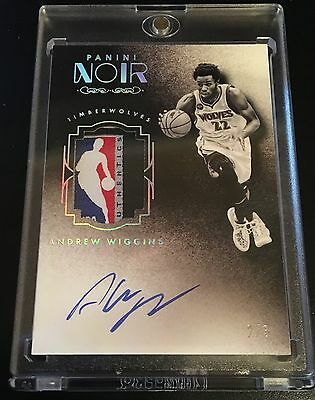 2015-2016 Panini Noir Andrew Wiggins Nba Logo Jersey Tag Patch Auto 2/3 Rare