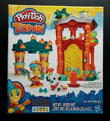 Play-Doh Molding Compound Town Firehouse Fire Station Playset Toy 4 Cans Pack