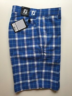 Footjoy Golf Performance Plaid Shorts Men Blue/White 92271 Clearance 30W