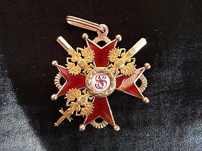 Russian imperial Order Of St. Stanislaus Cross 3rd Class 19th century 56 gold