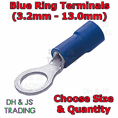 Insulated Blue Ring Terminals Electrical Splice Crimp Connector Eyelet Terminal