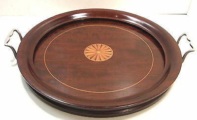 Antique Edwardian Satinwood Inlay Inlaid Marquetry Round Wooden Serving Tray