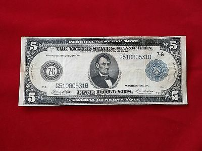 FR-871b  1914 Series $5 Five Dollar Type B Chicago Federal Reserve Note  *VF*