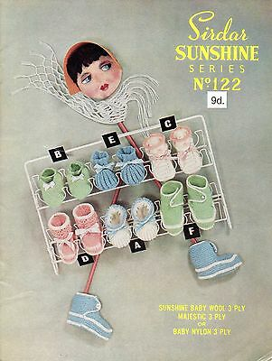 Sirdar Sunshine No. 122 Vintage Knitting Pattern, Baby Bootees & Slippers