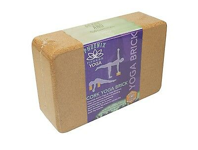 Phoenix Fitness Natural Cork Yoga Exercise Block Eco-Friendly Pilates Brick