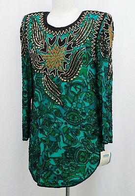 Jasdee Vintage Tunic Blouse Hand Work Bead & Sequins & Hand Print On Silk #6124