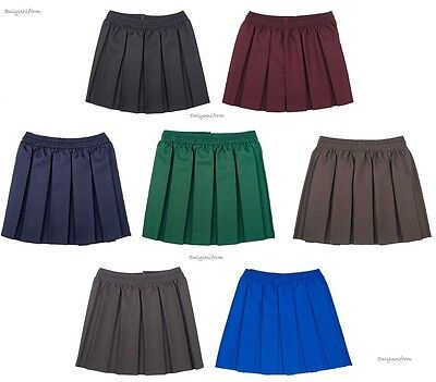 Girls Box Pleated School Uniform Elasticated Waist School Kids Skirt Age 2-18yrs