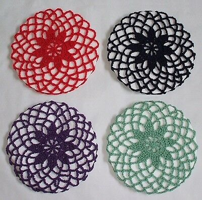 VINTAGE STYLE FLOWER SNOODS IN VARIOUS COLOURS - HAND CROCHETED 1940s PATTERN