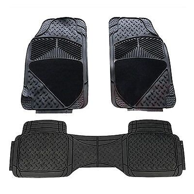 Mitsubishi Shogun Swb 07-On Heavy Duty 3 Piece Rubber/carpet Car Mats Black
