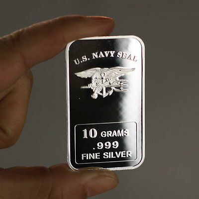 "10 grams .999 silver bullion bar. ""U.S. Navy Seal"" design. ""NEW"" Military"