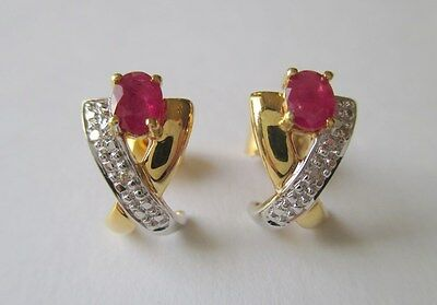 Boucles d'oreilles clous - Rubis Diamants - Gold earrings or 18 carats 750