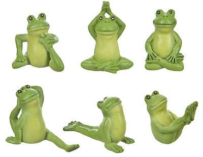 6 Ganz Mini Yoga Frog Figurines Figure Statues Miniature Small 1 1/8 Inch Tall