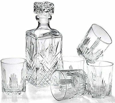 Whisky Decanter & 6 Glasses 7 Pcs Set Gift Box Stylish High Quality Glass Xmas