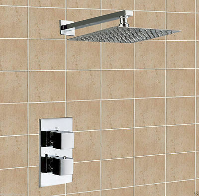 Chrome Square Concealed Thermostatic Shower Set Dual Mixer Valve Ultra Thin Head