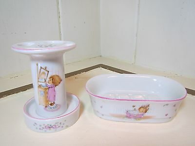1976 Hallmark Betsey Clark Bath Collection ~ Toothbrush Holder & Soap Dish