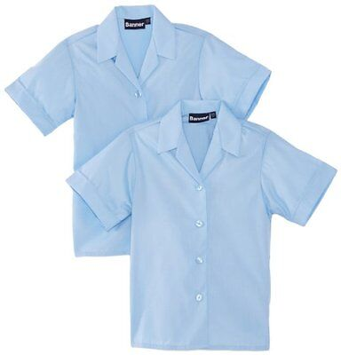 "Blu (Blau) (TG. 32"" Chest) BlUE Max Banner Revere Twin Pack Short Sleeve School"