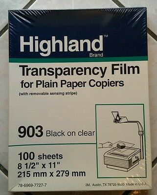 NEW Highland 903 Transparency 100 Sheets 8 1/2 x 11 clear plain paper copiers