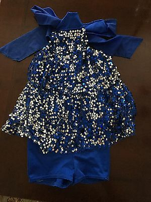 Girl's Leotard Tap Jazz Dance Gymnastics Majorette Sequins Outfit Sz Small Child