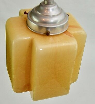 Super French Art Deco Ceiling Light Fixture Geometric Cube Marbled Glass c1930