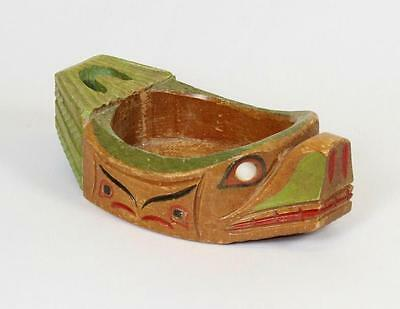 First Nations Pacific Northwest Hand Carved Cedar Seal Potlatch Bowl