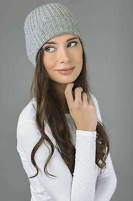 ed006a52ab486 LIGHT GRAY PURE cashmere fur pom pom cable knit beanie hat MADE IN ...