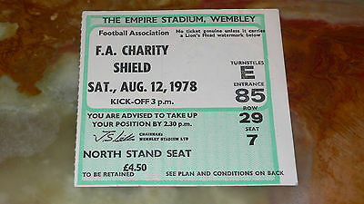 Ticket 1978 FA Charity Shield - NOTTINGHAM FOREST v. IPSWICH TOWN