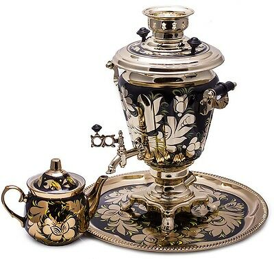 Samovar Electric US 110 V Made in Russia with Teapot and Tray Golden Leaves Art