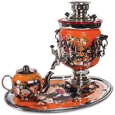 Samovar Electric US 110 V Made in Russia w/ Teapot and Tray Wood Grouse Pattern
