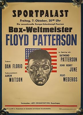 1960 FLOYD PATTERSON original German exhibition poster as Champion of the World