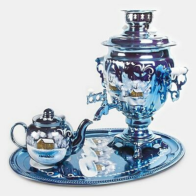 Samovar Electric US 110 V Made in Russia w/ Teapot and Tray Winter Pattern
