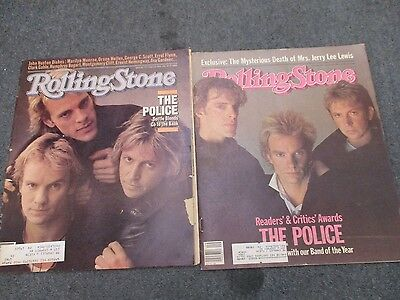 Vintage Rolling Stone Magazine The Police Sting #337 1984 & #416 1984