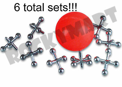 (LOT OF 6) Jacks & Ball Sets Classic Childrens Game Party Lots of fun! RM1693