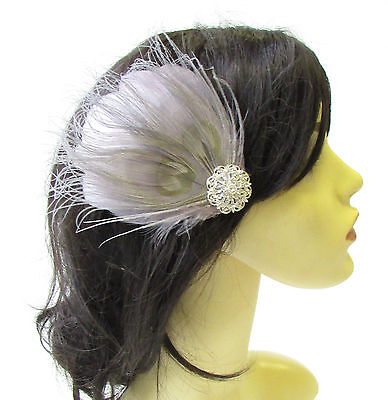 Grey Silver Peacock Feather Fascinator Hair Clip Headpiece Races Bridesmaid 1813