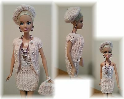 Handmade Crochet Barbie Outfit - Dress, Vest, Purse Hat and Jewelry