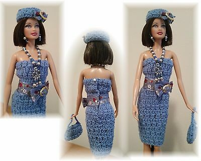 Handmade Crochet Barbie Outfit - Dress, Hat, Purse and Jewelry