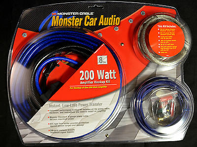 Monster Cable Car Audio 200 Watt Amplifier Hookup Kit SLVR/BL200 270-4135