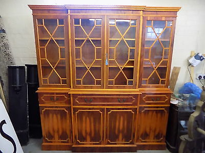 bookcase,cabinet,break front,shelves,glazed doors,drawers,tall,books,large,yew