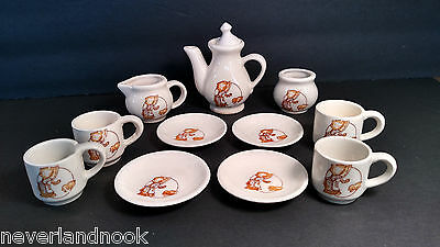 Vintage Holly Hobbie Hobby Tea Set Child 4 Person Ceramic Cups Plates Tea party