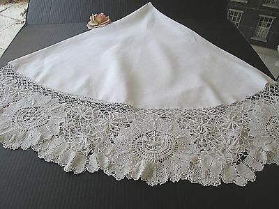 """Antique Round White Linen Tablecloth With Hand Made Lace Border..... 72"""""""