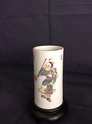 An Antique Chinese Famille Rose Porcelain Brushpot