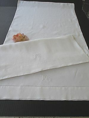 "PAIR ANTIQUE PURE WHITE LINEN PILLOWCASES MONOGRAM ""McM""...  21"" x 37"""