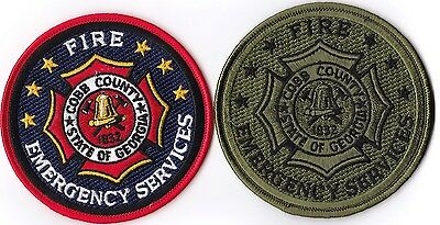 2 different Cobb County Fire Department Georgia patches   NEW