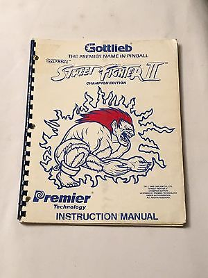 1993 Gottlieb Street Fighter Ii  Pinball Manual W/ 2- Flyers
