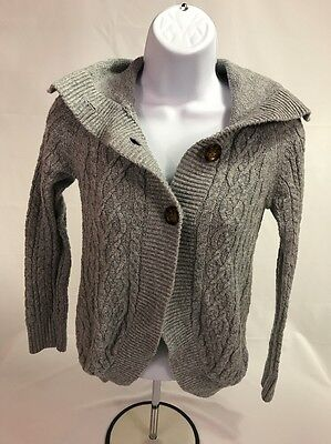 GAP Kids Girls Gray Long Sleeve Cable Knit Button Front Cardigan Sweater Sz L 10