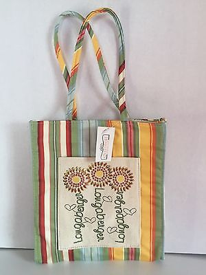 Rare~Longaberger~Summer Stripe-Embroidered~Canvas Lunch Tote Bag~Collectible~New