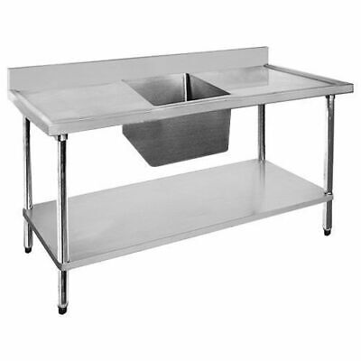 Sink Single Bowl & Double Drainer 1200x600x900mm Undershelf Stainless Top Sinks
