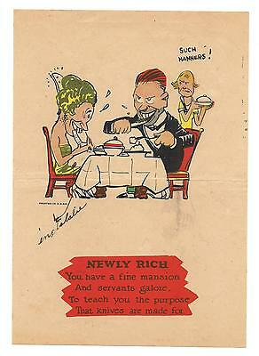 Old Vintage Original Comic Strip Art - Newly Rich (Funny Knife Poem Joke!)